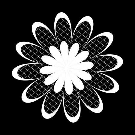 zwart wit tekening: bloemen patronen op een zwarte achtergrond