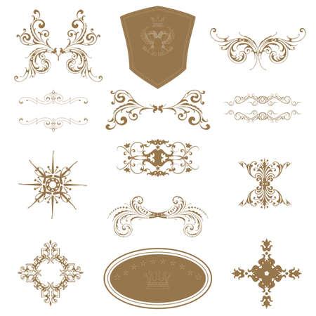 bordure de page: d�finir des �l�ments de conception de calligraphie et d�coration de page - beaucoup d'�l�ments utiles pour embellir votre mise en page