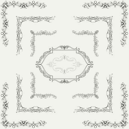 Set decorative horizontal floral elements, corners, borders, frame, page decoration  Vector