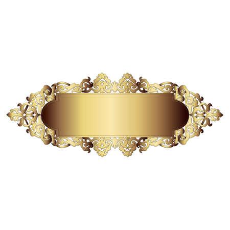 gold decorations: Elegante marco de la bandera del oro