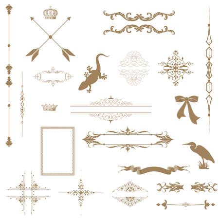 barok ornament: Set van decoratieve horizontale florale elementen, hoeken, randen, kader, kroon Pagina decoratie Stock Illustratie
