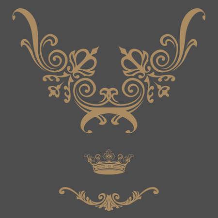 Elegant gold frame banner with crown, floral elements on the ornate background. Vector