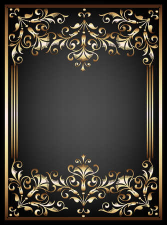 Vintage black background, antique gold frame, victorian ornament, beautiful old paper, certificate, award, royal diploma, ornate cover page, floral luxury rich ornamental Vector