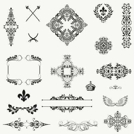 filigree: set of gold decorative horizontal floral elements, corners, borders, frame, crown  Page decoration  Illustration