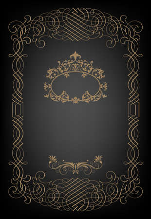 cover page:  Vintage black background, antique gold frame, victorian ornament, beautiful old paper, certificate, award, royal diploma, ornate cover page, floral luxury rich ornamental