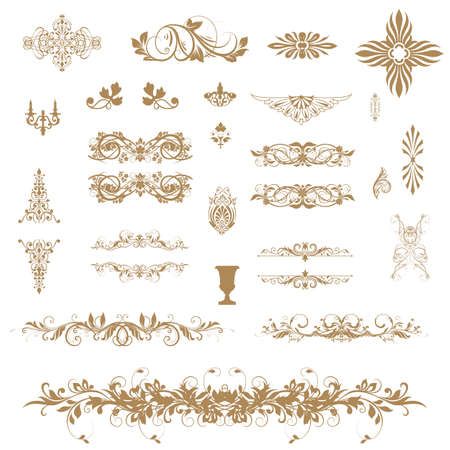 Vintage ornaments and dividers Vector