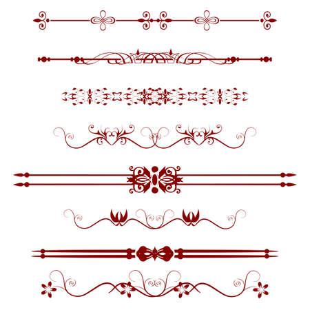 art line: Colecci�n de l�neas de regla ornamentales en diferentes estilos de dise�o Vectores