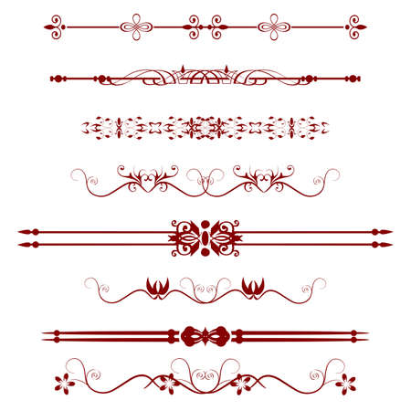 bordure de page: Collection de lignes de r�gle ornementales dans des styles diff�rents de conception