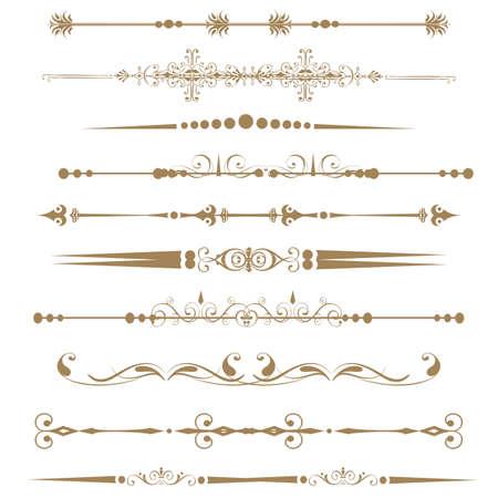 règle: Collection de lignes de r�gle ornementales dans des styles diff�rents de conception