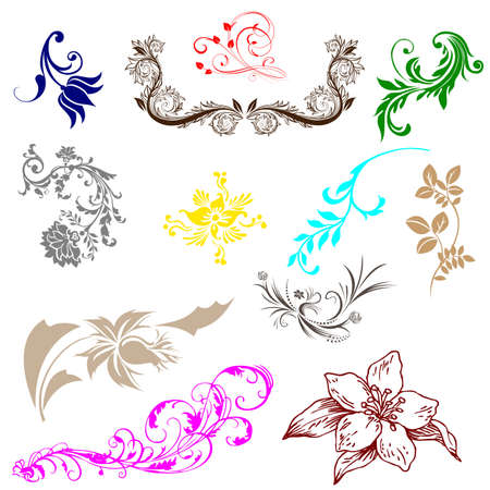 Vintage colorful design elements set for retro design. With leafs and flowers. Vector