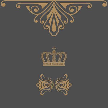 Elegant gold frame banner with crown, floral elements on the ornate background. Vector illustration. Vector