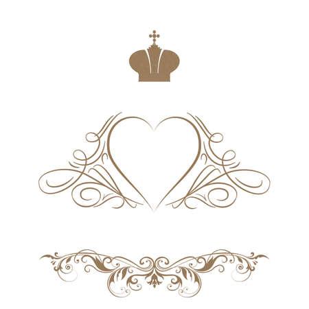 Elegant frame banner with crown Vector illustration. Vector