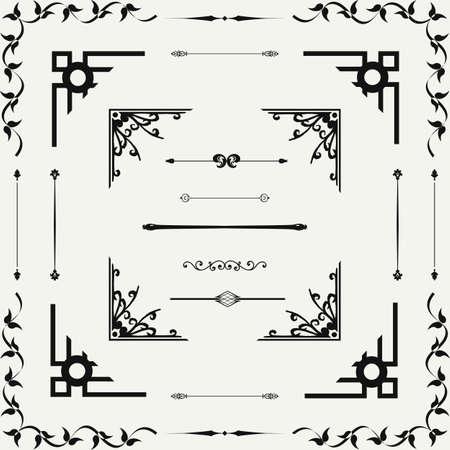 refine: Vector set di elementi decorativi floreali orizzontali, angoli, bordi, telaio. Decorazione di pagina. Vettoriali