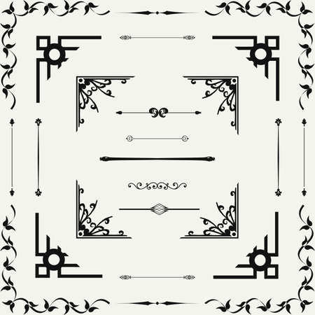 Vector set of  decorative horizontal floral elements, corners, borders, frame . Page decoration. Vector