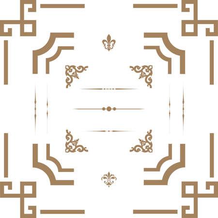 hoekversiering: Illustratie van decoratieve horizontale florale elementen, hoeken, randen, frame. Pagina decoratie.