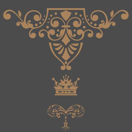 Elegant gold frame banner with crown, floral elements  Vector