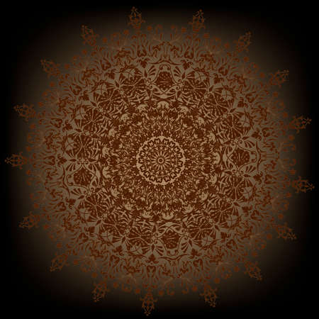 Decorative gold flower with vintage round patterns on black vector  Vector