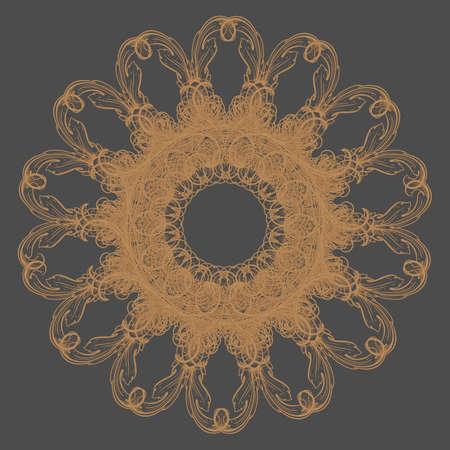 Decorative gold flower with vintage round patterns  Vector