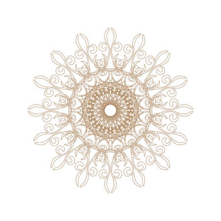 Decorative gold frame with vintage round patterns on white Vector