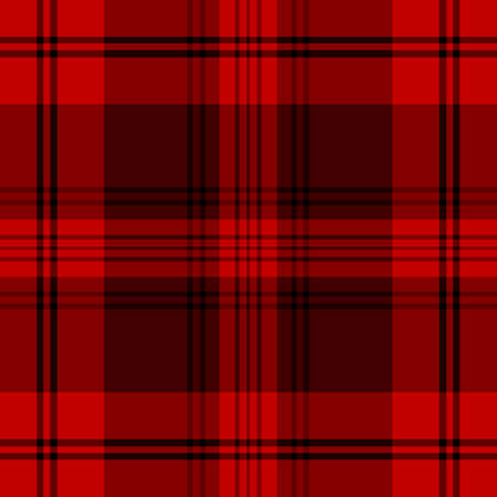 Tartan traditional checkered british fabric seamless pattern, black and red, vector Vector