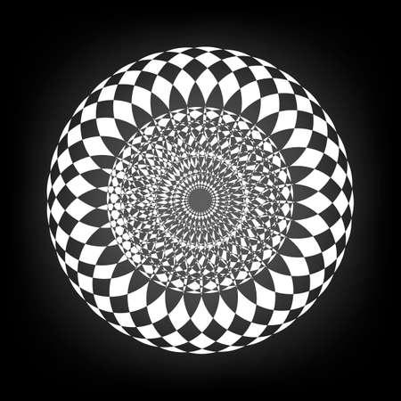 moorish: Black and white circular border vector illustration Illustration