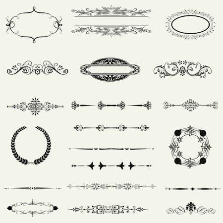 twirl: conjunto de vectores: elementos caligr?ficos del dise?o y la decoraci?n de p?gina - muchos elementos ?tiles para embellecer su dise?o