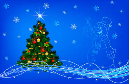 Blue Christmas collage. Decorations and ribbons on a blue background Vector