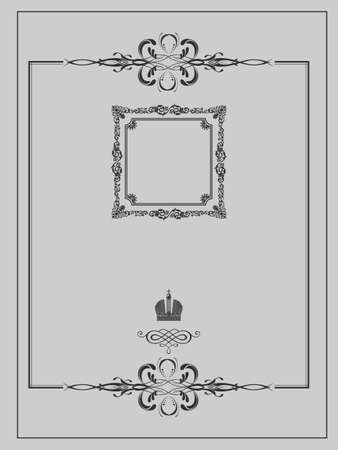 Vintage background, antique gold frame, victorian ornament, beautiful old paper, certificate, award, royal diploma, ornate cover page, floral luxury rich ornamental Vector