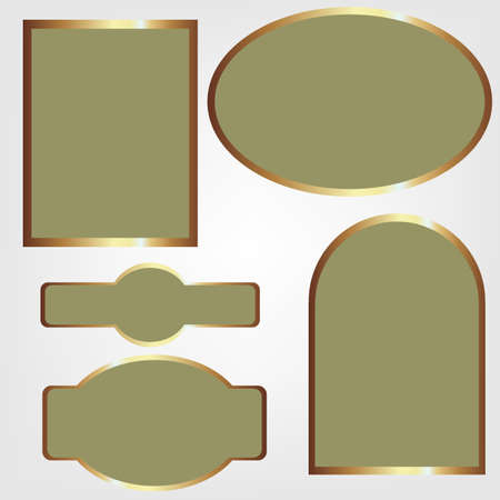 set of vector labels olive gold color Vector