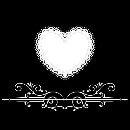 Black and white vintage greeting card with heart shape Vector