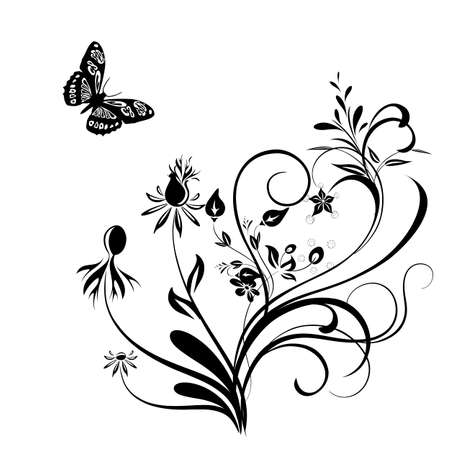 Decorative vector ornament. Vector floral ornament with butterfly, element for design Vector
