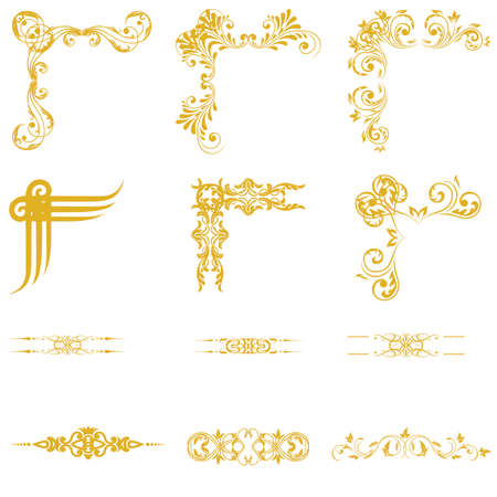 gold frame: Vector set of decorativev floral elements, corners, borders, framev. Page decoration.