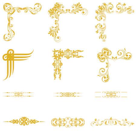 page decoration: Vector set van decorativev florale elementen, hoeken, randen, framev. Pagina decoratie.