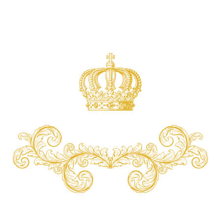 Elegant gold frame banner with crown, floral elements on the ornate background. Vector illustration. Vector