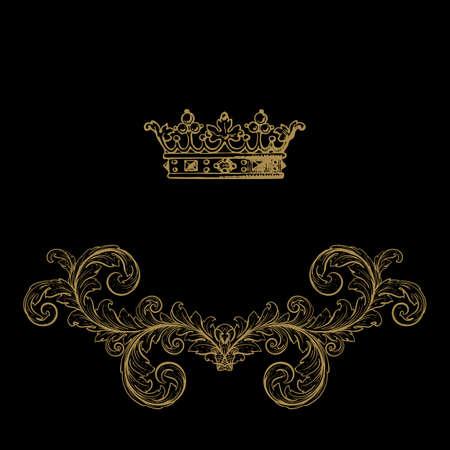 royal rich style: Elegant gold frame banner , floral elements  . Vector illustration.