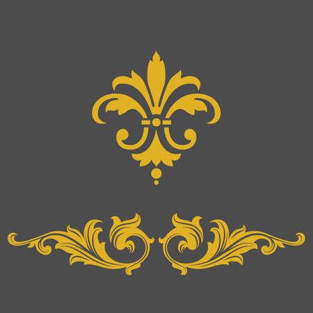 twirl: Bandera marco de oro elegante, elementos florales. Ilustraci�n del vector.