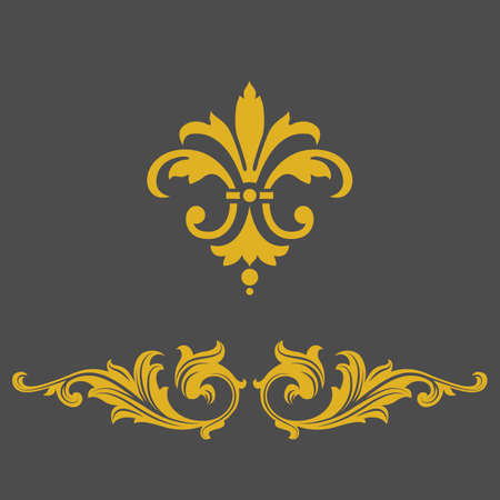 swirl backgrounds: Elegante bandiera cornice d'oro, elementi floreali. Illustrazione vettoriale.