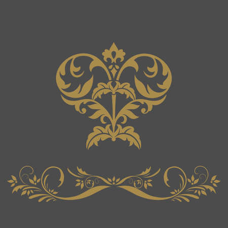 Elegant gold frame banner , floral elements  . Vector illustration. Stock Vector - 24337721