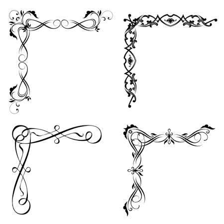 Vector set   floral design elements  , corners, borders. Page decoration. Vector