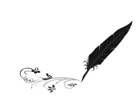Black-and-white feather and flourish Vector