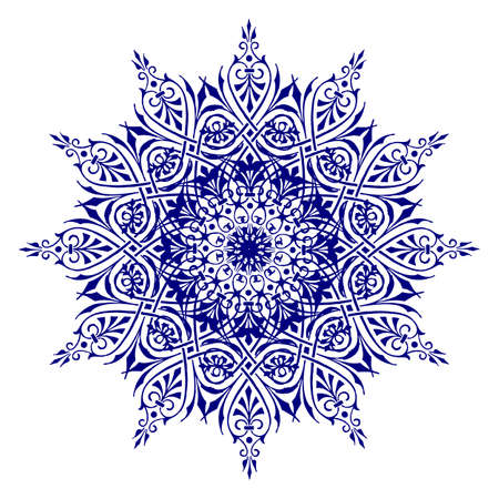 Decorative blue flower with vintage round patterns Vector