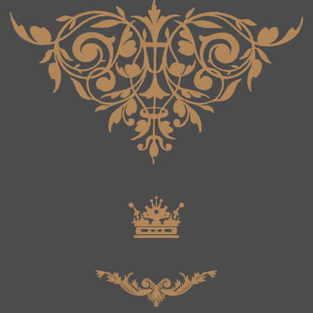 Elegant gold frame banner with crown, floral elements on the ornate background. Vector illustration. Stock Vector - 24497815