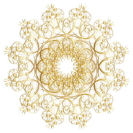 circles:  Decorative gold  frame with vintage round patterns on white