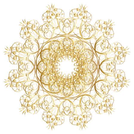 patron de circulos: Marco de oro decorativo con patrones circulares de la vendimia en blanco Vectores