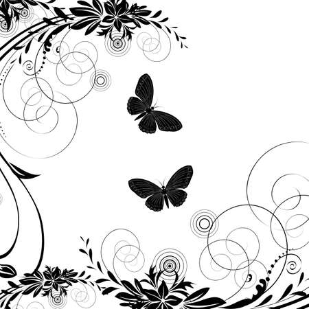 floret: Background with butterfly on a white background Illustration