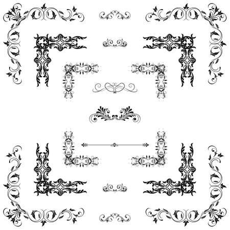 cenefas decorativas: Vector conjunto de elementos decorativos florales, esquinas, bordes, marco. Decoraci�n de la p�gina.