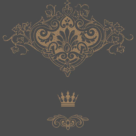 Elegant gold frame banner with crown, floral elements . Vector illustration. Vector