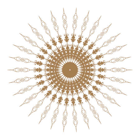 Decorative gold and frame with vintage round patterns on white Vector