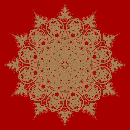 Decorative frame with vintage round patterns on  red Vector
