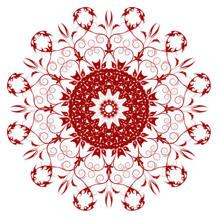 Decorative  red  flower with vintage round patterns Vector